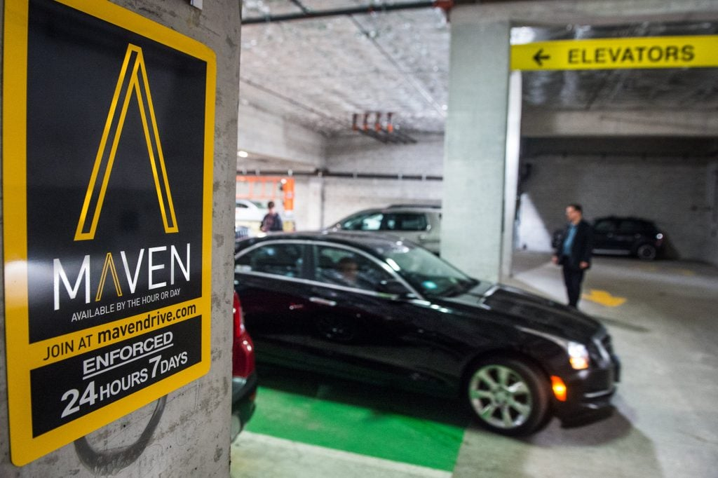 In less than four months, members of Maven - General Motors' personal mobility brand - have driven more than one million miles. The car-sharing program is now operational in Chicago (pictured here) with pricing starting at $8 an hour including insurance and fuel. Maven has grown to five markets: Chicago, New York City, Ann Arbor, Michigan and recently announced Boston and Washington D.C. (Photo by Brian Kersey for Maven) GM Otomobil Paylaşım Servisi Maven Uber'e Rakip Olacak! GM Otomobil Paylaşım Servisi Maven Uber'e Rakip Olacak! GMMavenChicago05 1024x682