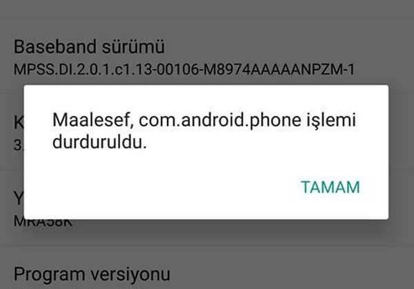 android durdurulma hatası Android Durduruldu Hatası