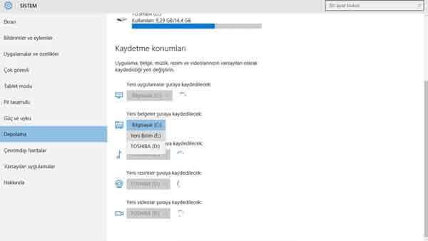 Depolama Alanı Artırma Windows 10 Depolama Alanı
