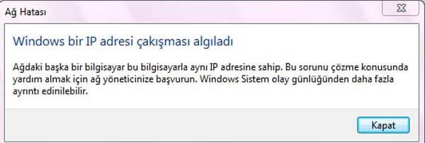 ip çakışması problemi IP Çakışması