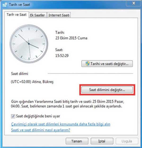 tarih ve saat ayarları Bilgisayar Saati
