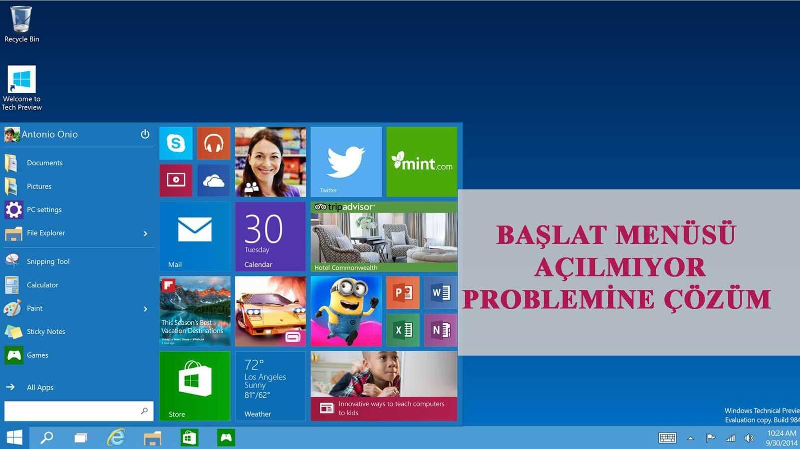 Windows 10 Başlat Menüsü Başlat Menüsü Çalışmıyor Başlat Menüsü Çalışmıyor Sorununa Çözüm windows 10 baslat menusu