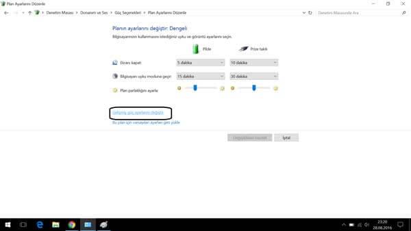 Windows güç tasarruf modu Güç Tasarrufu Modu