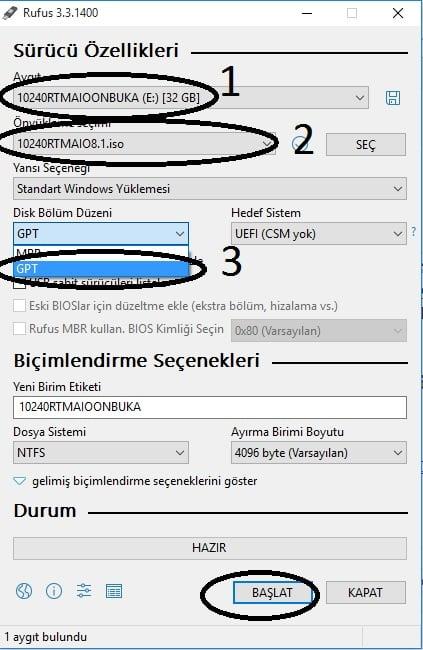windows bu diske yüklenemez Windows bu diske yüklenemez. Seçilen disk GPT bölümü stilinde hatası çözümü rufus gpt kullanimi 1