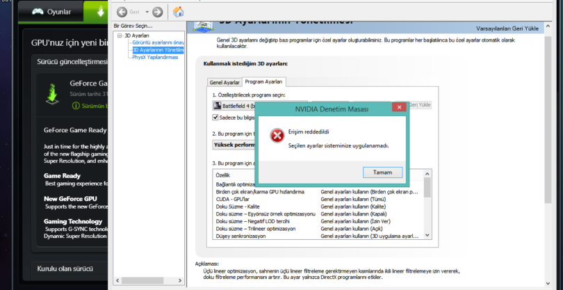 nvidia denetim masası erişim reddedildi hatası Nvidia Denetim Masası Erişim Reddedildi Hatası Kesin Çözümleri bilgedefteri nvidia erisim reddedildi hatasi 810x417