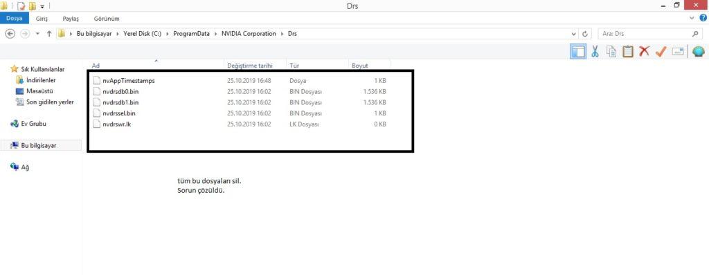nvidia denetim masası erişim reddedildi hatası Nvidia Denetim Masası Erişim Reddedildi Hatası Kesin Çözümleri drs klasoru 1024x398